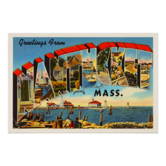 Nantucket Massachusetts MA Vintage Travel Souvenir Poster