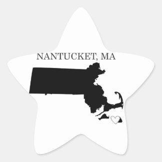 Nantucket Massachusetts Pegatina En Forma De Estrella