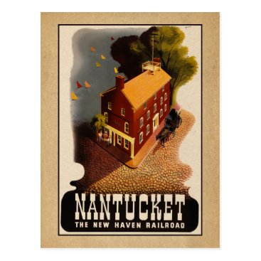 Nantucket Massachusetts Retro Rail Travel Postcard