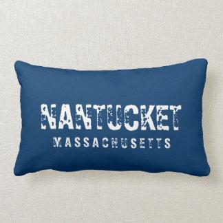 Nantucket Massachusetts Reversible Blue Pillows