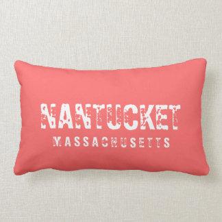 Nantucket Massachusetts Reversible Faded Red Lumbar Pillow