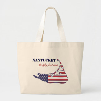 Nantucket patriótico, el 51.o estado de América Bolsa Tela Grande