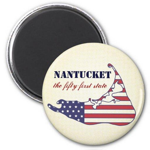 Nantucket patriótico, el 51.o estado de América Imán Redondo 5 Cm
