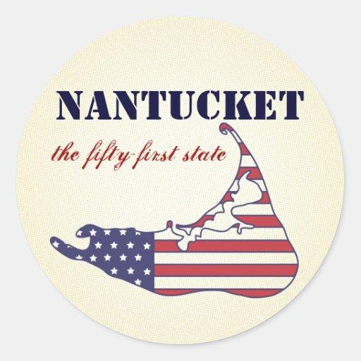 Nantucket patriótico, el 51.o estado de América Pegatina Redonda