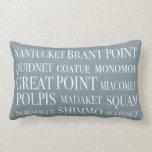 Nantucket Place Names Blue Hazelnut & White Throw Pillows