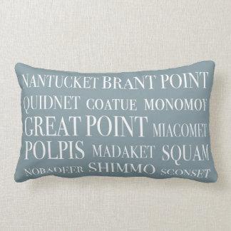 Nantucket Place Names Blue Hazelnut & White Pillow