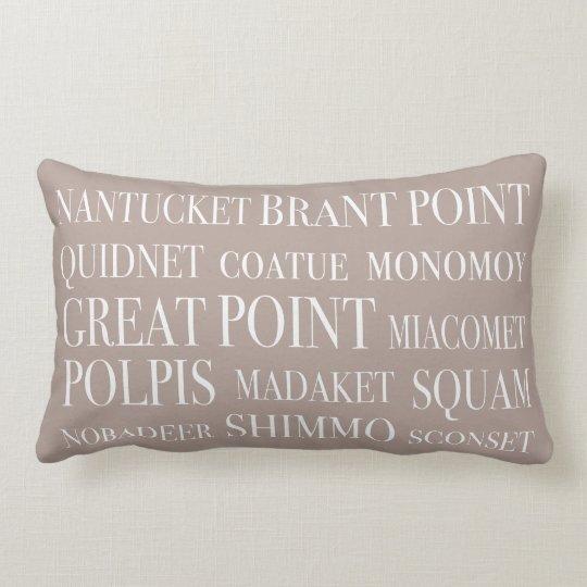 Nantucket Places Nautical Beige Hazelnut & White Lumbar Pillow