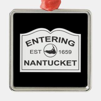 Nantucket que entra Est. 1659 firme adentro el Adorno Navideño Cuadrado De Metal
