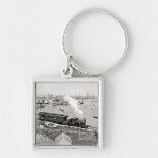 Nantucket Railroad Silver-Colored Square Keychain