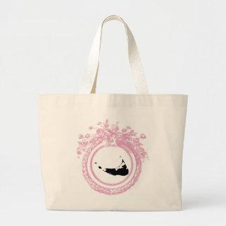Nantucket rosado y negro bolsa tela grande