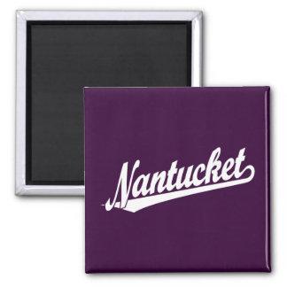 Nantucket script logo in white 2 inch square magnet