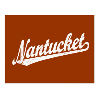 Nantucket script logo in white distressed post card