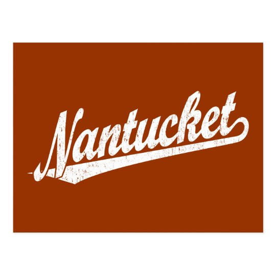Nantucket script logo in white distressed postcard