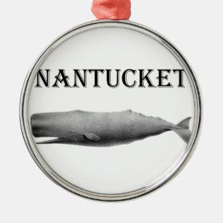 Nantucket Sperm Whale Round Metal Christmas Ornament