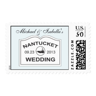 Nantucket Wedding Date White Sign on Light Blue Postage