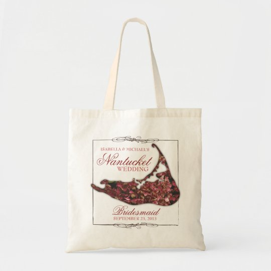 Nantucket Wedding Floral Map Bridesmaid Tote Bag