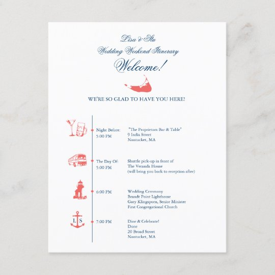 Nantucket Wedding Reception Itinerary Timeline Zazzle