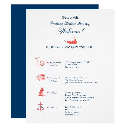 nantucket wedding reception itinerary timeline card
