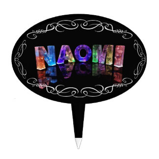 Naomi  - The Name Naomi in 3D Lights (Photograph) Cake Topper