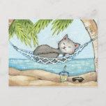 Nap in Paradise - Cute Island Vacation Cat Art Postcard
