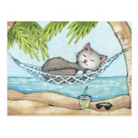 Nap in Paradise - Cute Island Vacation Cat Art Postcard