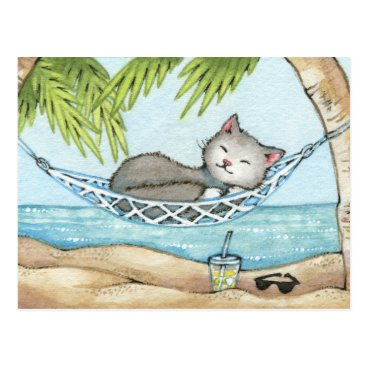 Beach Themed Nap in Paradise - Cute Island Vacation Cat Art Postcard