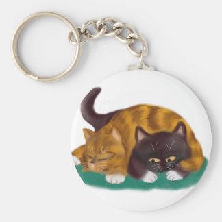 Nap Time flopped across big kitty Basic Round Button Keychain