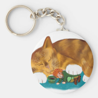 Nap Time for Leprechaun and  Orange Tiger Kitten Keychain