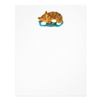 Nap Time for Leprechaun and  Orange Tiger Kitten Letterhead Design