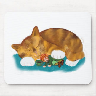 Nap Time for Leprechaun and  Orange Tiger Kitten Mouse Pad