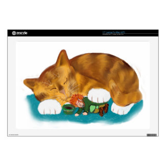 """Nap Time for Leprechaun and  Orange Tiger Kitten 17"""" Laptop Skins"""