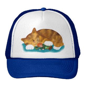 Nap Time for Leprechaun and  Orange Tiger Kitten Trucker Hat