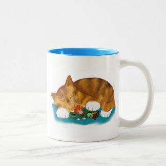 Nap Time for Leprechaun and  Orange Tiger Kitten Two-Tone Coffee Mug