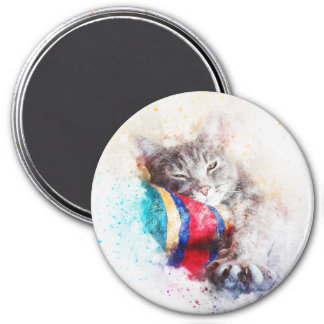 Nap Time Kitty   Abstract   Watercolor Magnet