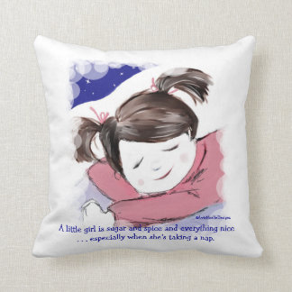 Nap Time-Little Girl-Funny Saying Throw Pillow
