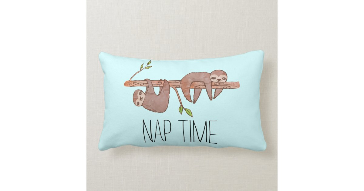 Nap Time Sleepy Lazy Sloth Drawing Pillow | Zazzle