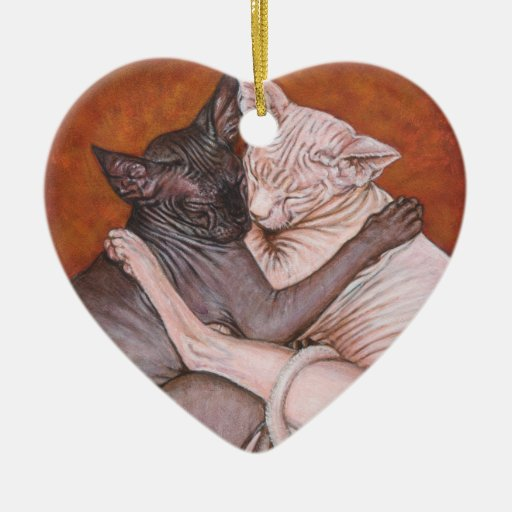 Nap Time Sphynx Sphinx cat printing art Christmas Ornament