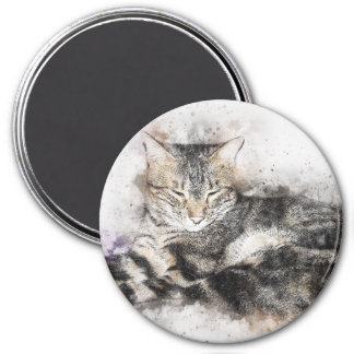 Nap Time Tabby   Abstract   Watercolor Magnet