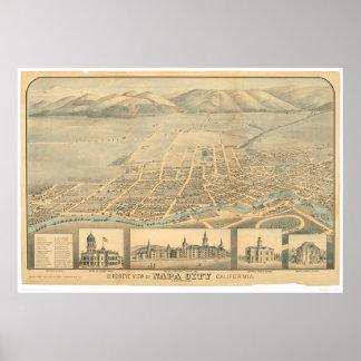 Napa, mapa panorámico del CA (0684A) Posters