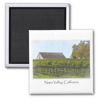 Napa Valley California Vineyard and Barn 2 Inch Square Magnet