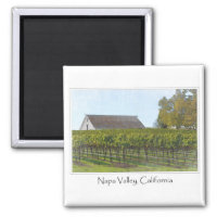 Napa Valley California Vineyard and Barn Magnet