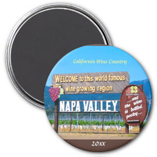 Napa Valley California Wineries 3 Inch Round Magnet