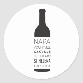 Napa Valley Cities Wine Bottle Classic Round Sticker