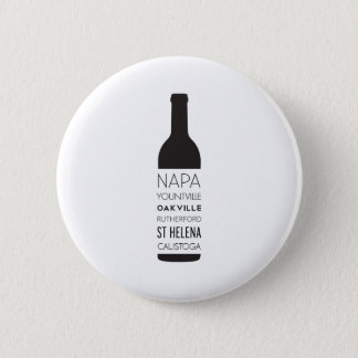 Napa Valley Cities Wine Bottle Pinback Button