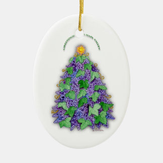 Napa Valley Grapes Christmas Tree Double-Sided Oval Ceramic Christmas Ornament