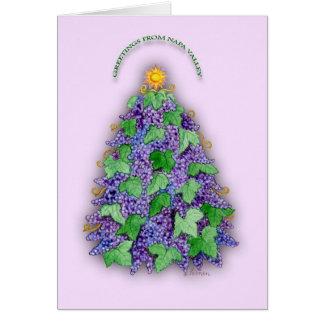 Napa Valley Grapes Christmas Tree Greeting Card