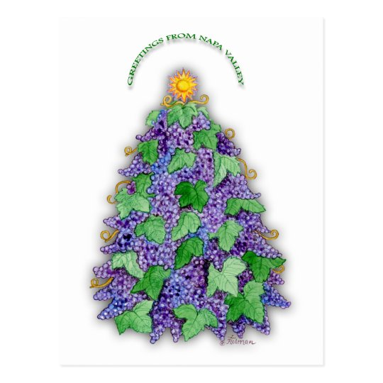 Napa Valley Grapes Christmas Tree Postcard