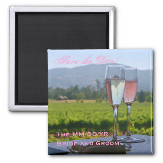 Napa Valley Save the Date! 2 Inch Square Magnet