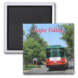 Napa Valley Streetcar in Yountville 2 Inch Square Magnet