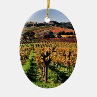 Napa Valley Vineyard Ceramic Ornament